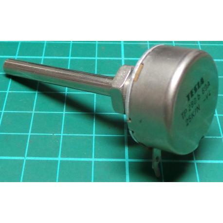Potentiometer, 25K, Lin, THT, 6x50mm Shaft