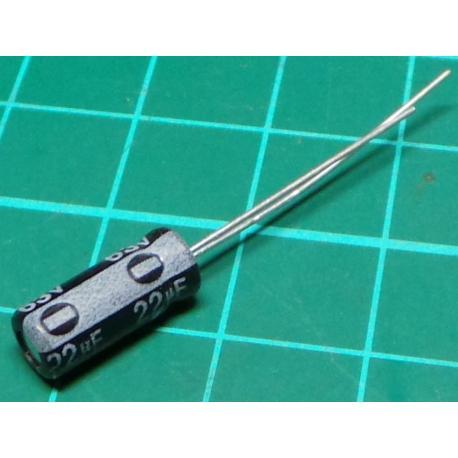 Capacitor, 47uF, 25V, Radial, Electrolytic