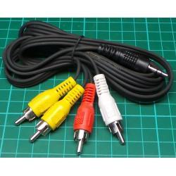 3xRCA to 3.5mm Stereo Plug + 1 x RCA, 1.5m