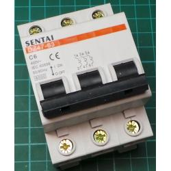DIN MCB, 6A, Type C, 230V, 3 Phase