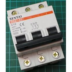 DIN MCB, 10A, Type C, 230V, 3 Phase