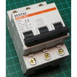 DIN MCB, 32A, Type C, 230V, 3 Phase