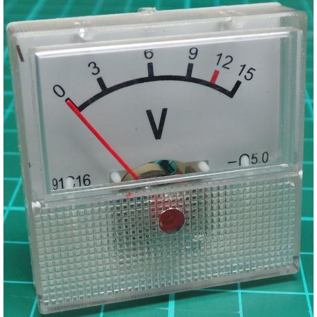 Panel Meter, Analogue, 0-15V, 40x40mm, Old Sotck