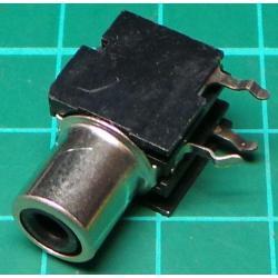 RCA socket, PCB mount, Black