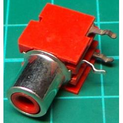 RCA socket, PCB mount, Red