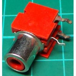 RCA socket, PCB mount, Red