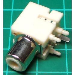 RCA socket, PCB mount, White