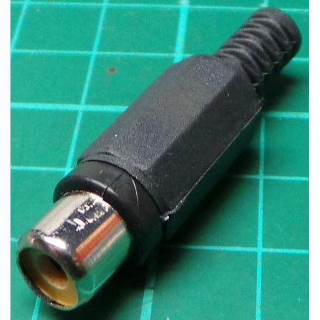 RCA socket, In Line, Black