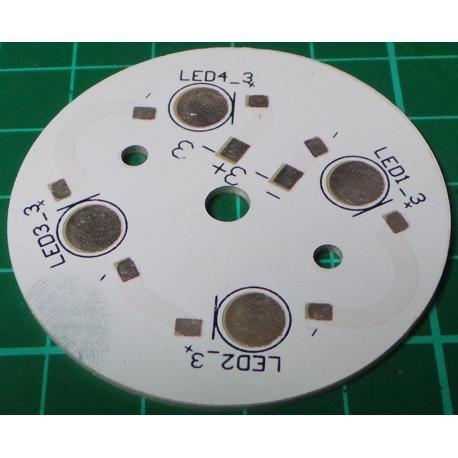 LED Heatsink, for 4 LED's, Aluminium, 49mm, for 1W / 3W / 5W LED's