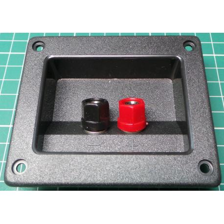 Speaker Terminals, Wire or Banana, on recessed Plate, 93x80mm, cutout 73x54mm