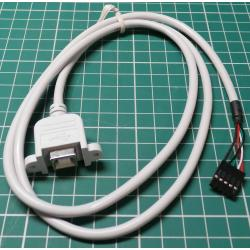 Panel Mount USB B Connector to 5 pin header, 1m