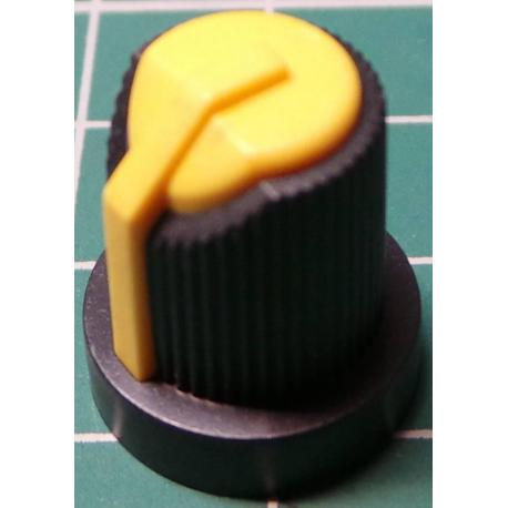 Knob, for 6mm knurled shaft, Yellow, Style 5