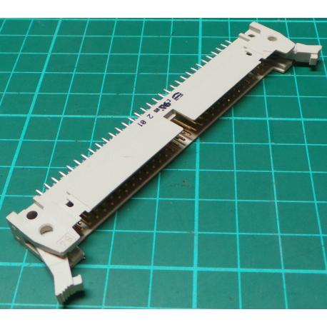 HDR 64 Pin DIL Header, Male, 2.54mm Pitch, Polarised, With Clips, White