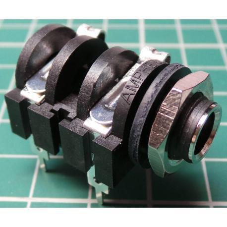 Jack Socket, 6.3mm, Mono, Plastic, Panel Mount, with Switch, Metal Nut