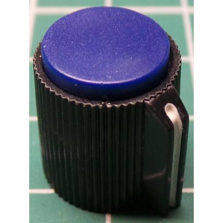 Knob, Blue, for 6mm shaft, Ø13x15mm, Screw Fixing - Metal Insert, Style 8