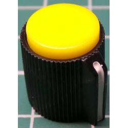 Knob, Yellow, for 6mm shaft, Ø13x15mm, Screw Fixing - Metal Insert, Style 8