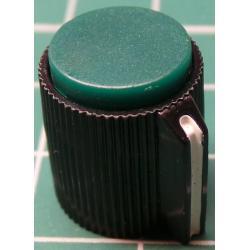 Knob, Green, for 6mm shaft, Ø13x15mm, Screw Fixing - Metal Insert, Style 8