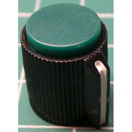 Knob, Black, for 6mm shaft, Ø13x15mm, Screw Fixing - Metal Insert, Style 8
