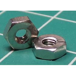Nut, M2.5, for 5mm spanner, Stainless Steel