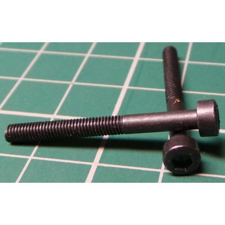 Screw, M3x30, Cheese Head, Hex, Black Finish