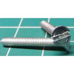 Screw, M3x20, Countersunk Head, Slotted