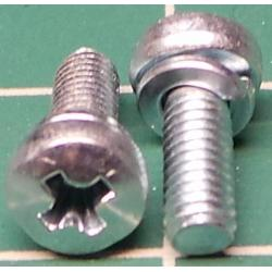 Screw, M3x8, Cheese Head, Phillips, With Split Washer