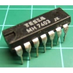 7403, MH7403, TESLA, quad 2-input NAND gate with open collector outputs