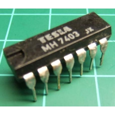 MH7403, TESLA, quad 2-input NAND gate with open collector outputs
