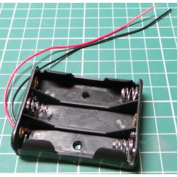Battery Holder, 3 x AA / R6 / UM3, With Tinned Wires