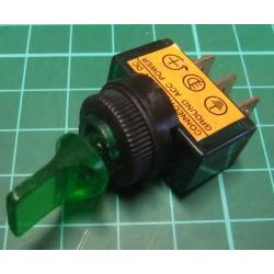 Switch SPDT Toggle, 12VDC, 10A, Illuminated
