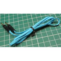 Blue, 3.5mm Stereo Jack Plug to 3.5mm Stereo Jack Socket, 1m