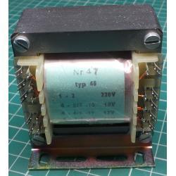 Transformer, 30W, 220V to 10V+12V+15V