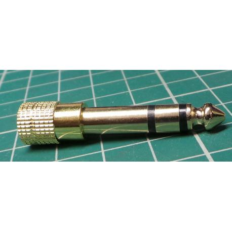 Stereo Headphone Audio Adapter Plug 3.5mm Jack to 6.5mm Gold Plated