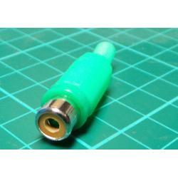 RCA / Phono Socket, In Line, Green