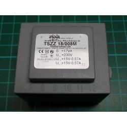Transformer, PCB, 230VAC to 15V+15V, 0.6A, 0.6A, 18VA