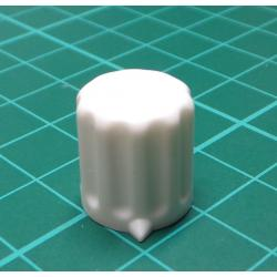 Knob, for 6mm shaft, White, Style 2