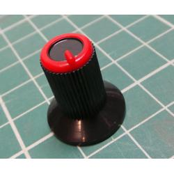 Knob, for 6mm knurled shaft, Ø10x19mm, Black, Red, Style 7