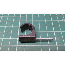 Nail in Clip, for 15mm round cable, Black