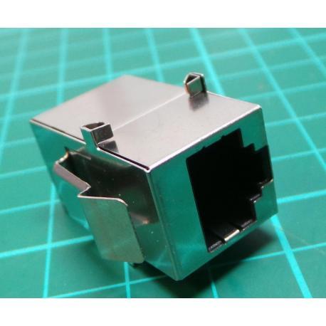 Socket, clutch, PIN: 8, shielded, gilt, Dev layout: 8p8c