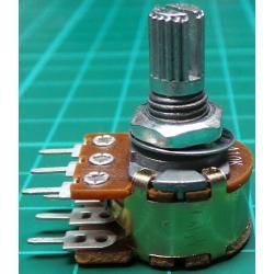Potentiometer, 2x10K, Log, THT, 6x10mm Knurled Shaft