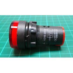 230V LED lamp 29 mm, red