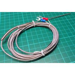 K Type Thermocouple, Stainless Steel, 1.5mm Probe, 2m