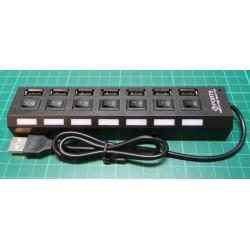 7 Port Powered USB HUB with individual On/Off Switches, Black