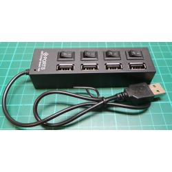 4 Port Powered USB HUB with individual On/Off Switches, Black