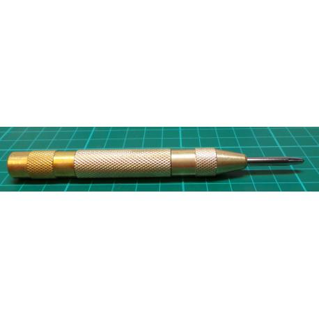 """Adjustable Automatic Centre Punch 5""""/130mm Brass Body Spring Loaded Drill Tool"""