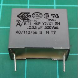 Capacitor, 33nF, 300V, Polyester Film, Cropped Legs