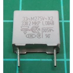 Capacitor, 33nF, 275V, Polyester Film, Cropped Legs