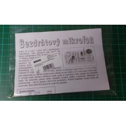 Wireless Microphone Kit, FM 88-108MHz, Instructions in Czech