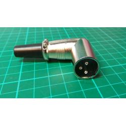 XLR, 3 Pin, Male, for Cable, Right Angled