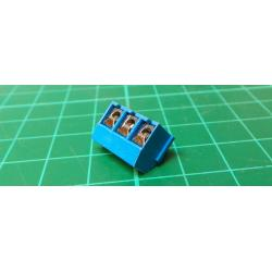 PCB terminal block angled 3pin screw.RM 5mm v9mm